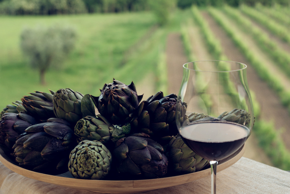 Artichokes and Glass of red wine_Cropped