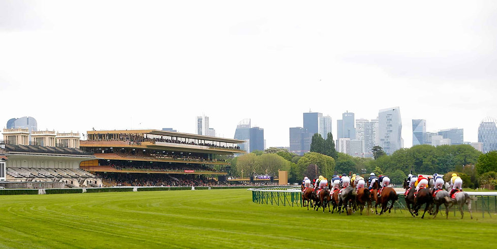 Paris Longchamp Racecourse with grandstand and city views