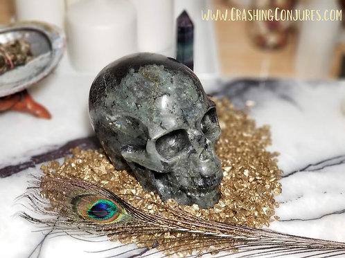 "Carved Large Realistic Crystal Skull: 5.1"" Labradorite"