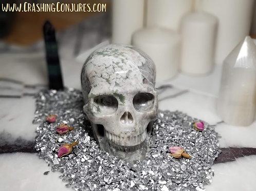 "Carved Large Realistic Crystal Skull: 5.1"" Peace Jasper"