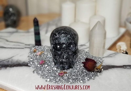 "Carved Large Realistic Crystal Skull: 5.1"" Gabbro"