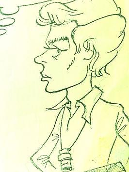 Jean-Michel Houlbert caricaturé par Lionel Van Cleem en réalisateur (1976)