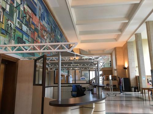 Le Hall d'accueil du Tribunal de Grande Instance de Brest