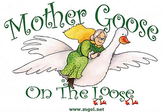 Older woman riding a goose with the wordsMother Goose on the Loose