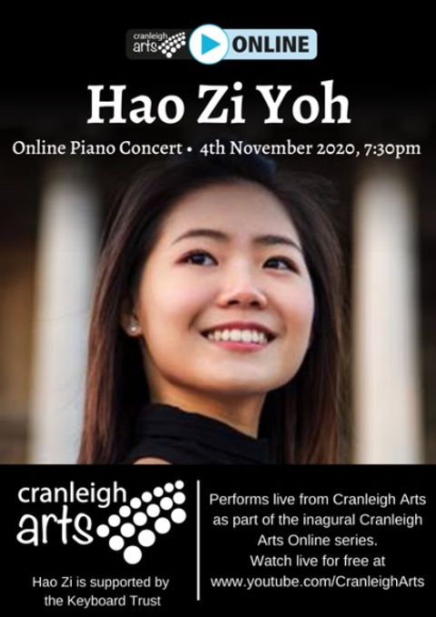 Cranleigh Arts Centre - Hao Zi Yoh 4th Nov 2020 7.30pm