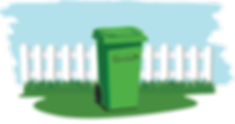 green bins illustration with background.