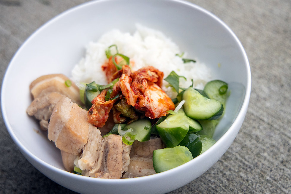 Dad's Roast Pork Belly in an Instant Pot with Grandma's Cucumbers and Rice