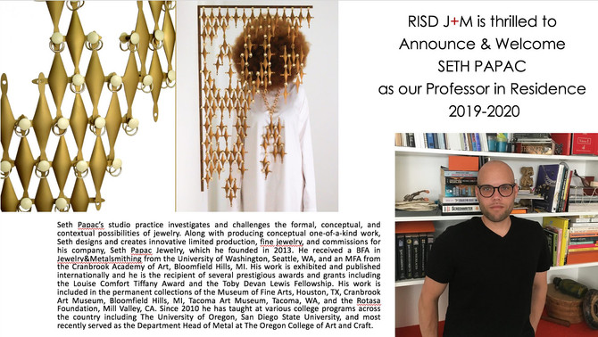 I AM HONORED TO JOIN THE FACULTY IN JEWELRY + METALSMITHING AT RISD