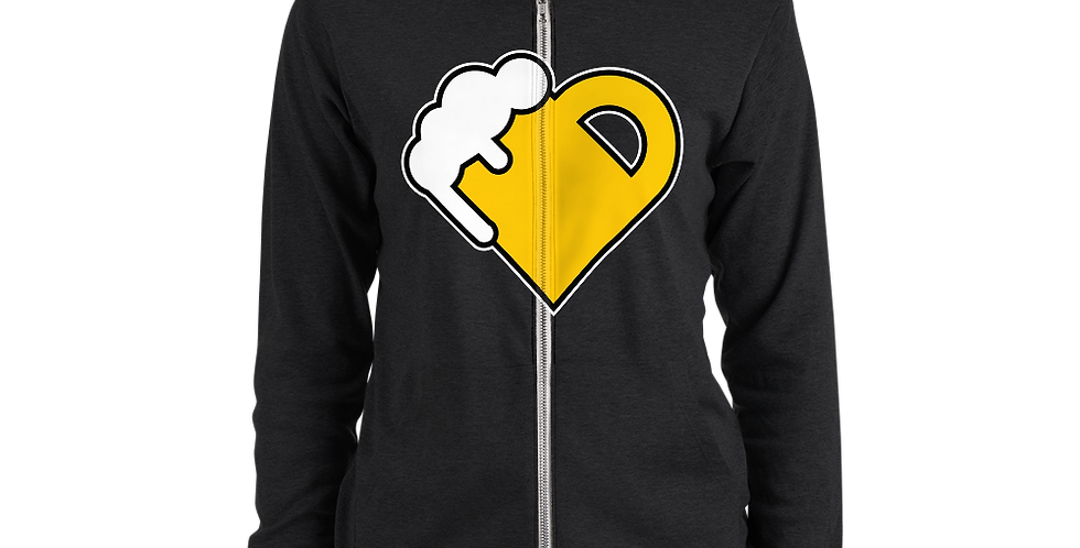 Fourth Room Brewing Beer Heart Unisex zip hoodie