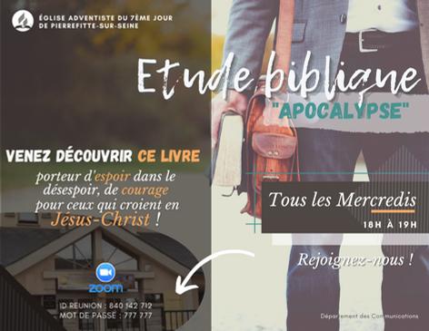 Etude biblique Apocalypse Pierrefitte Fé