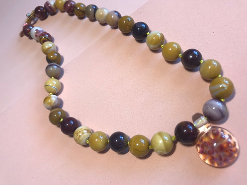 Agate Necklace with Artisan Glass Pendant