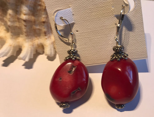 Red Coral Chunk Earrings