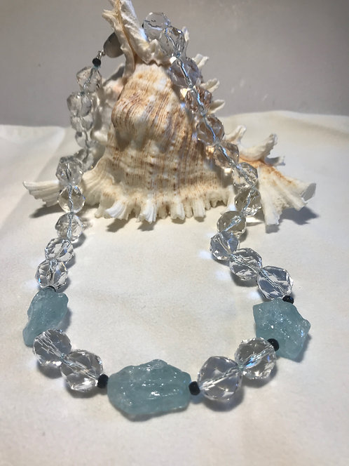 Rock Crystal Necklace with Aquamarine
