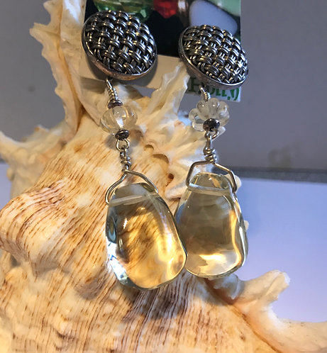 Lemon Quartz Earrings in Bali Silver