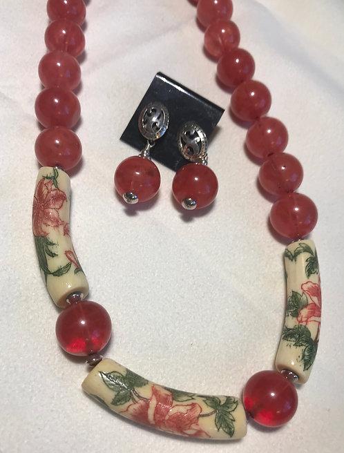 Cherry Quartz Necklace and Earring Set