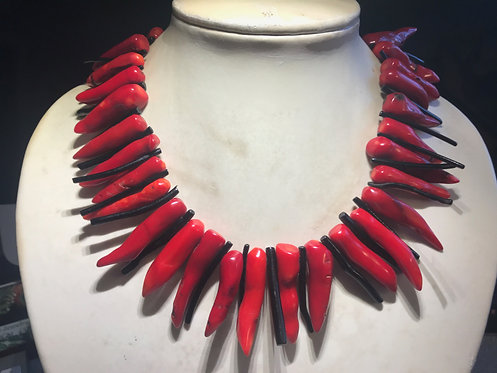 Red and Black Coral Necklace and Earring Set