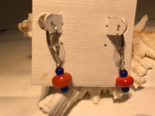 Orange and Blue Earrings