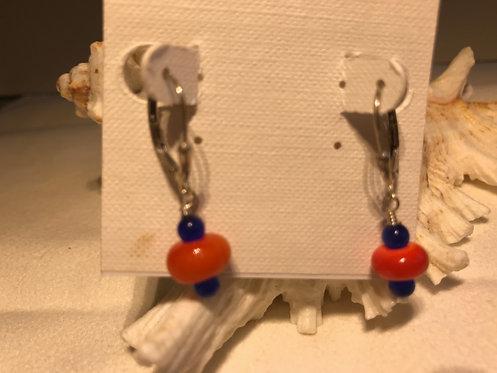 Orange and Blue Earrings