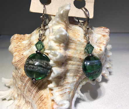 Emerald Lampwork Glass Bead Earrings