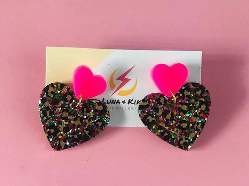 Glitter Heart Studs