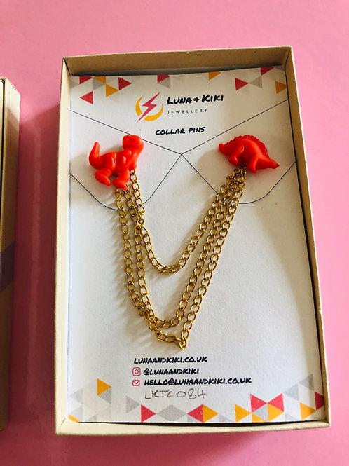 Orange Dino Collar Pins