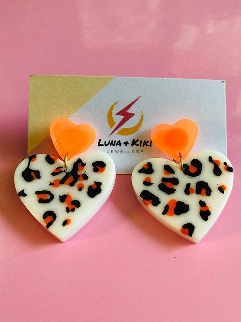 Neon Double Heart Earrings