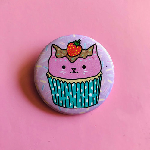Cupcake Kitty Button Badge