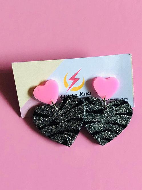 Silver Tiger Print Heart Earrings