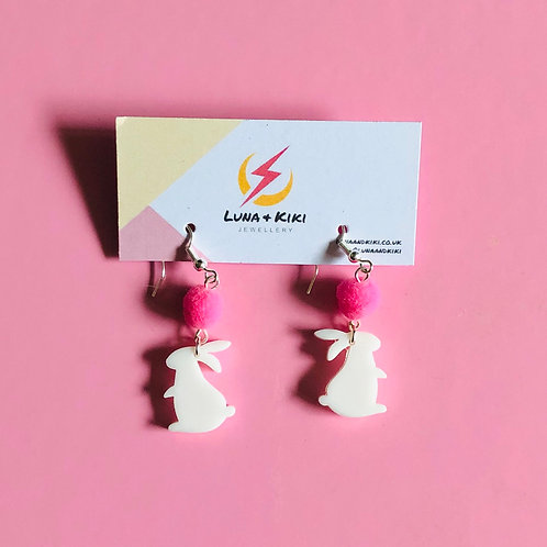 White Bunny Earrings