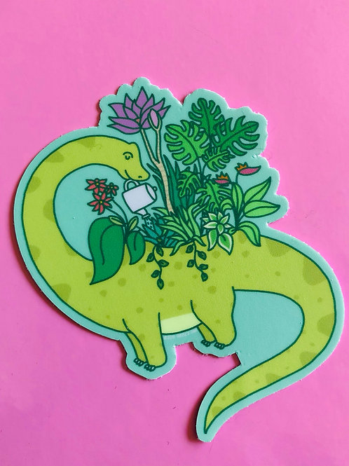 Brontosaurus Planter Sticker