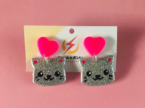 Silver and Pink Cat Earrings