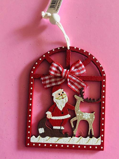 Wooden Santa Window Decoration