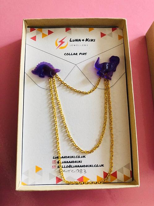 Purple Dino Collar Pins