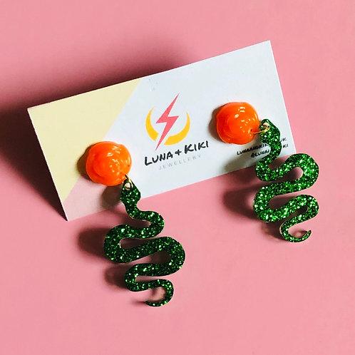 Orange and Green Snake Earrings