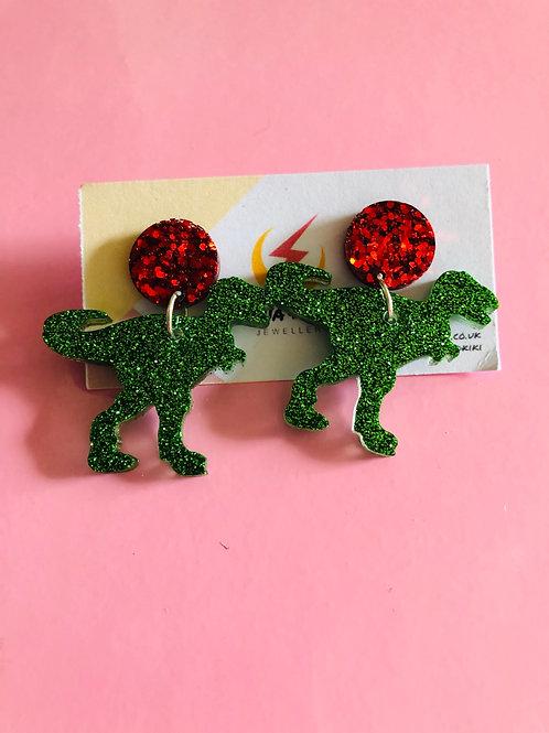 Glitter T-Rex Earrings