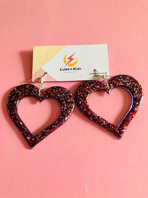 Purple and Red Glitter Heart Earrings