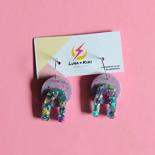 Abstract Lilac Earrings