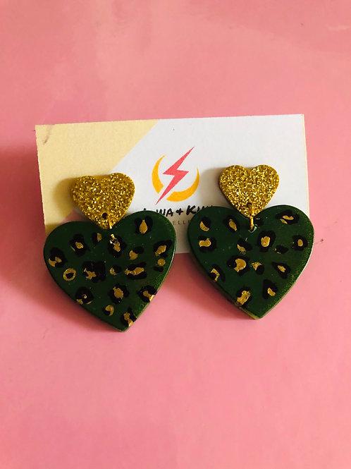 Khaki Double Heart Earrings