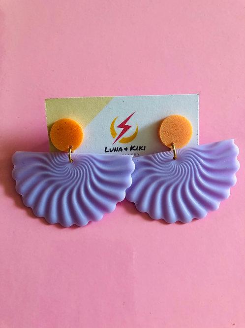 Lilac Peach Fan Earrings