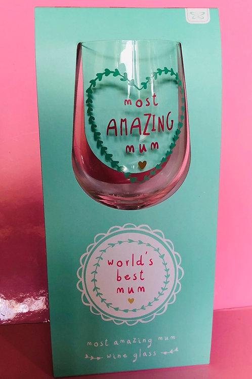 Amazing Mum Wine Glass