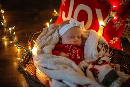 baby at Christmas sleeping