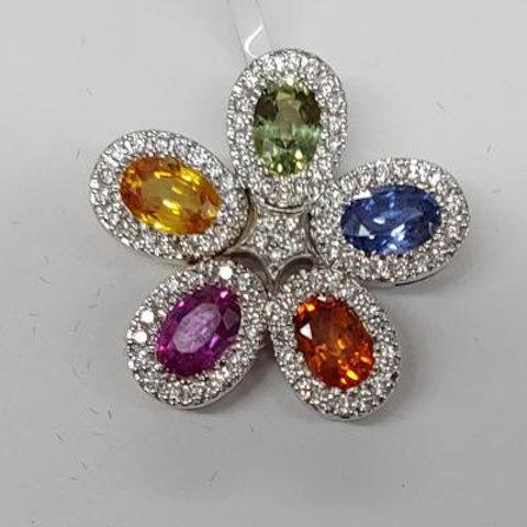 Multi-Color Sapphire Pendant