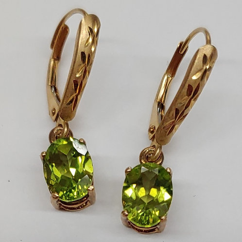8x6 Leverback Gemstone Earrings (Pair)