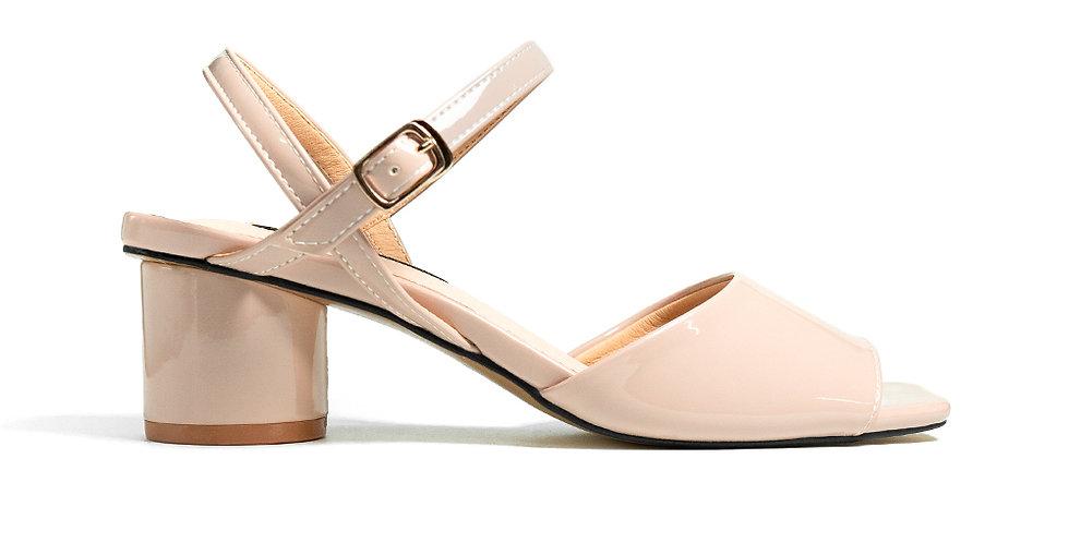 Giày sandal gót vuông mũi vuông Sulily màu kem