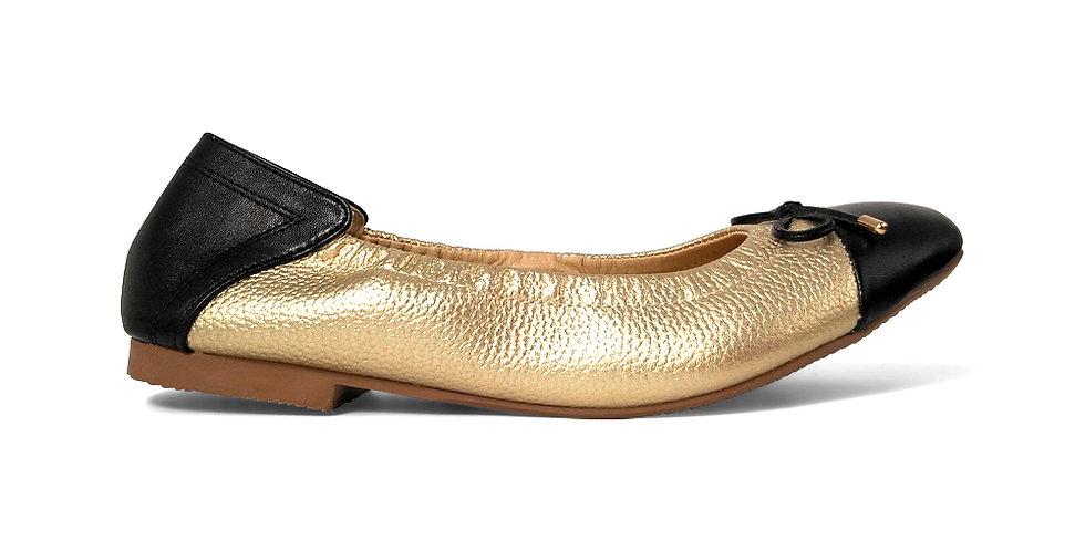 Giày Búp Bê Da Thật Mũi Vuông Mix Màu AD màu vàng phối