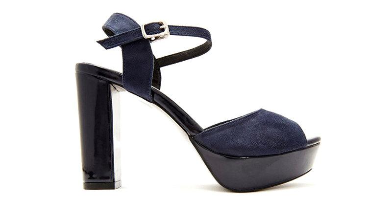 Giày Sandal Gót Vuông Đế Đúp Da Lộn Sulily