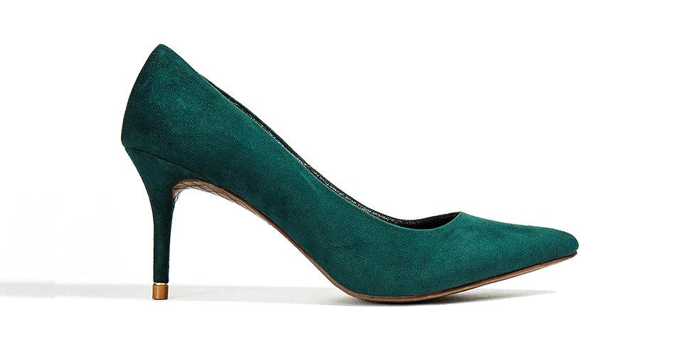 Giày Cao Gót Mũi Nhọn Gót Viền Vàng Sulily màu xanh đậm