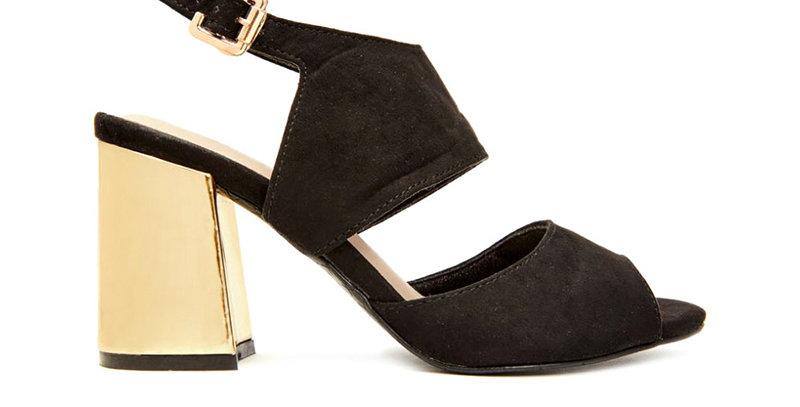Sandal Gót Vuông Bọc Vàng Sulily