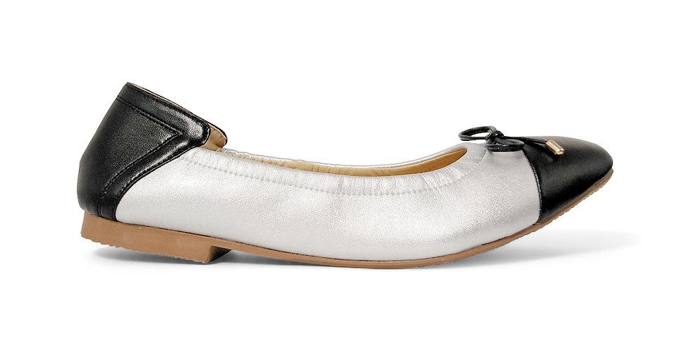 Giày Búp Bê Da Thật Mũi Vuông Mix Màu AD màu bạc phối