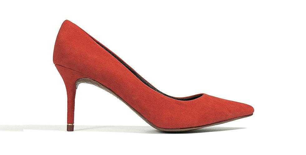 Giày Cao Gót Mũi Nhọn Gót Viền Vàng Sulily màu cam